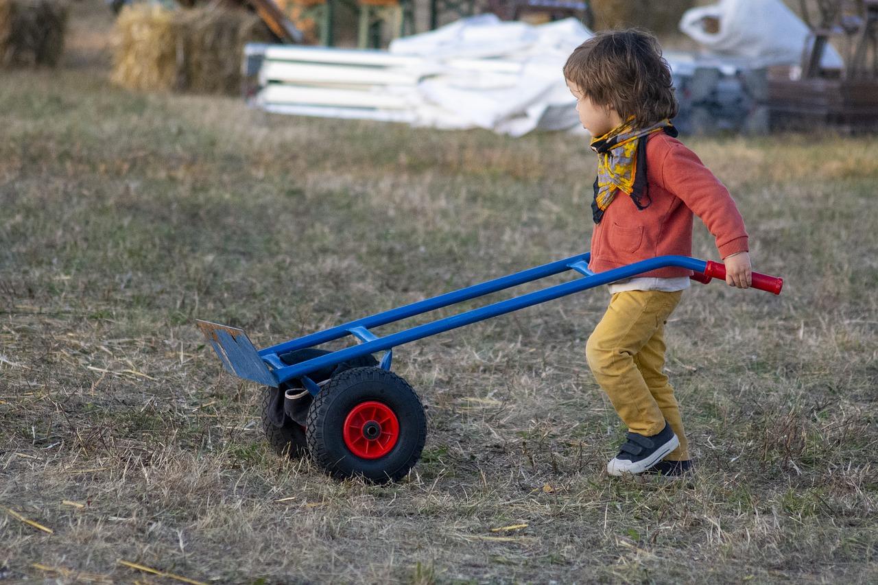 Criança carrega carrinho: pais agem de forma errada para satisfazerem seus próprios interesses