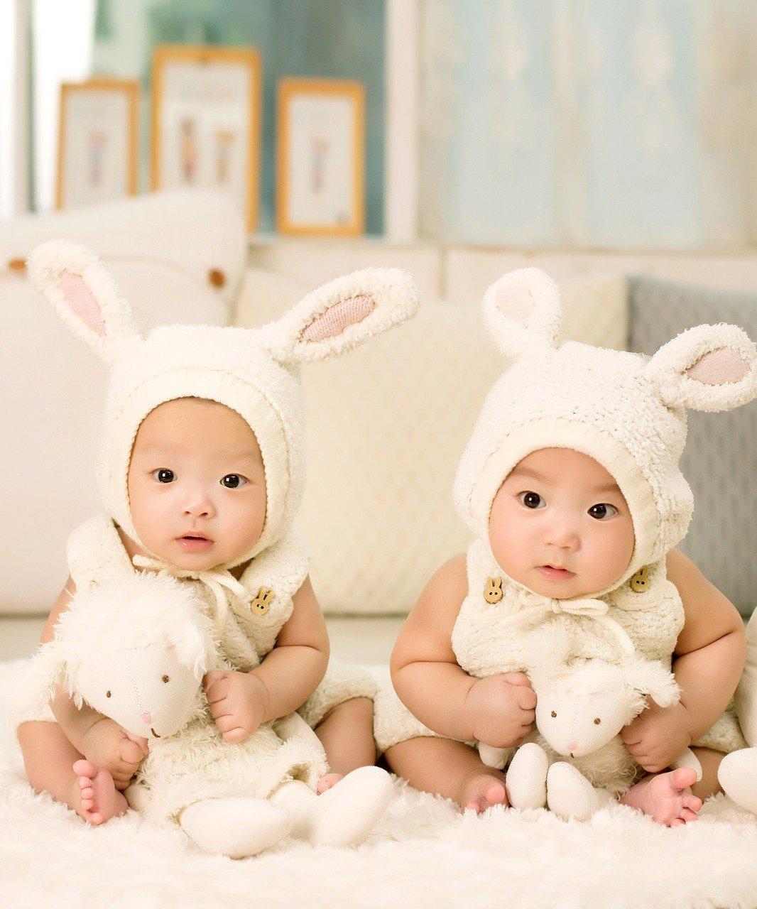 Irmãos gêmeos asiáticos fantasiados de coelhos: saiba mais sobre a restrição seletiva em gestações gemelares
